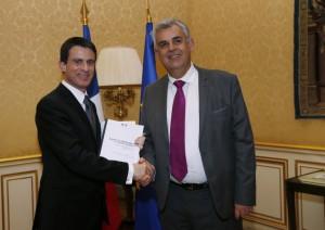 Pascal Terrasse et Manuel Valls AFP / THOMAS SAMSON