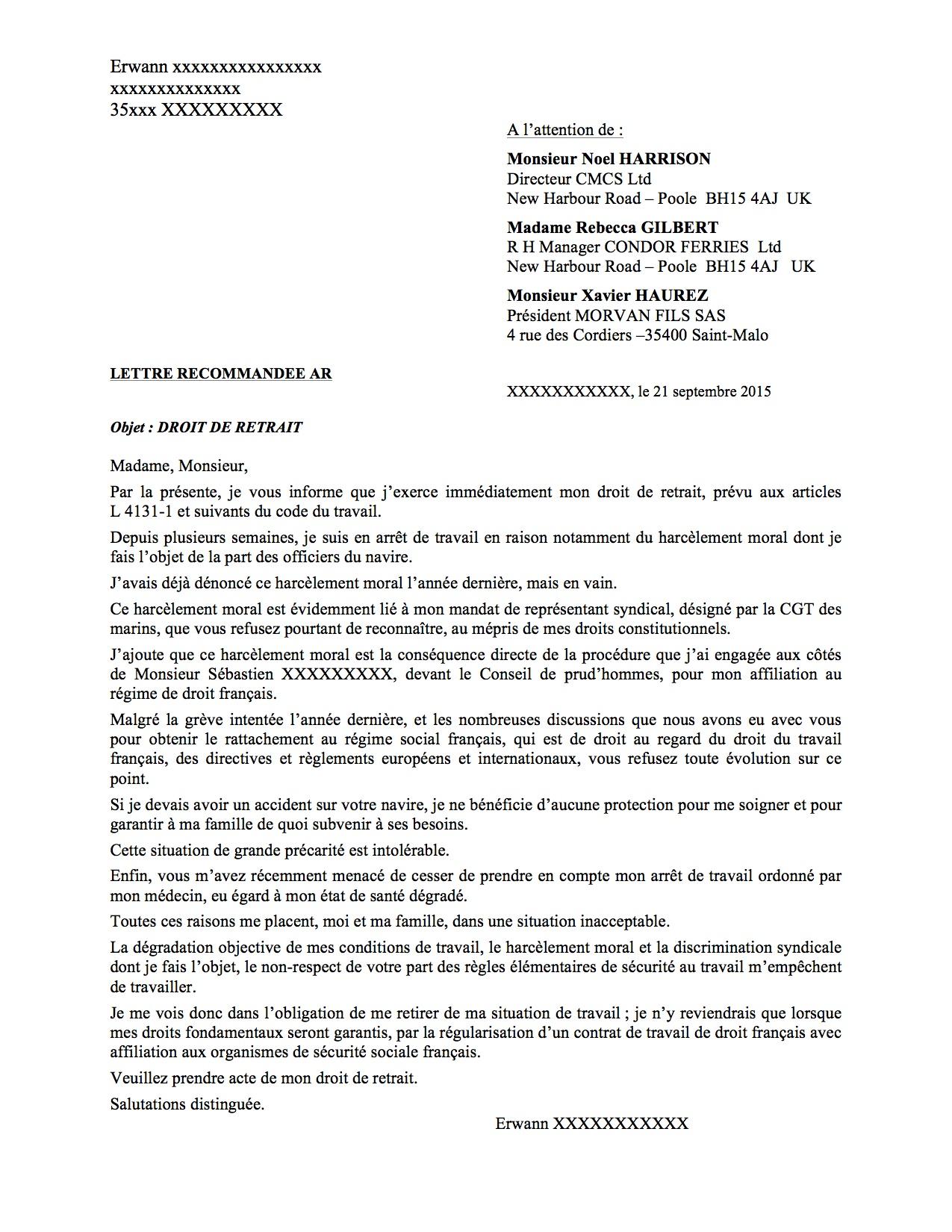 Courrier Droit de retrait Erwann F Condor Ferries