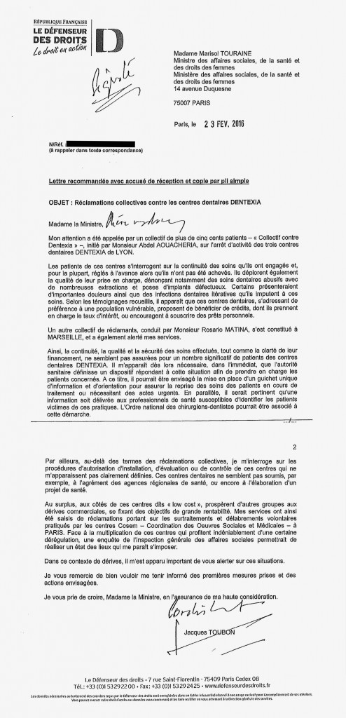 La lettre de Jacques Toubon à l'attention de Marisol Touraine