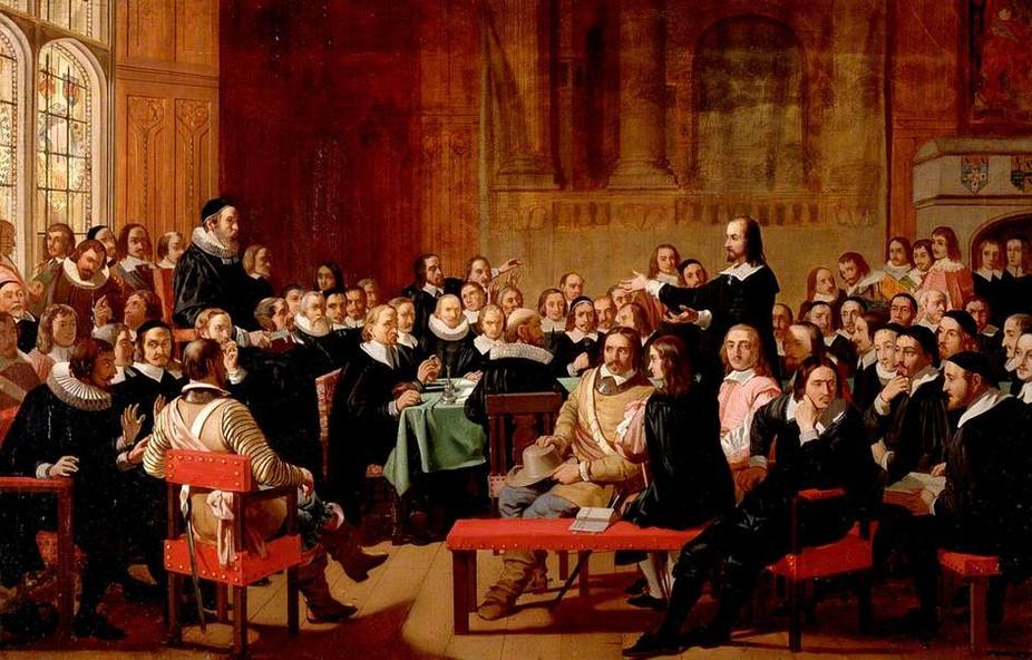 Assemblée des « Divins » de Westminster lors d'une discussion sur la liberté de conscience. © Peinture de John Rogers Herbert