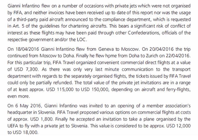 Extrait du rapport interne de la Fifa (page 4)