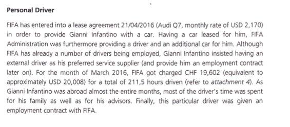 Extrait du rapport interne de la Fifa (page 6)
