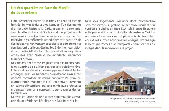 Argumentaire de présentation du projet de résidence hôtelière Maisons & Cités, amené à remplacer les 26corons en face du Louvre Lens.