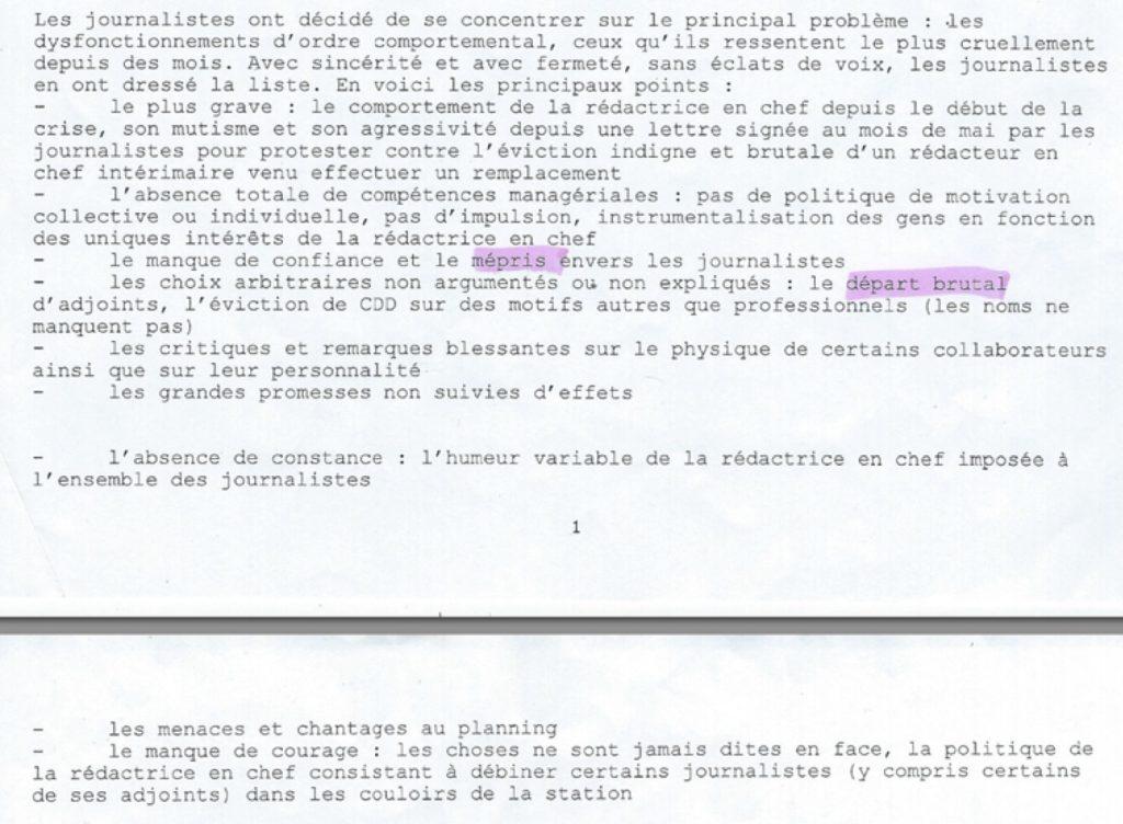 Extrait du courrier des élus journalistes du CE de France 3 Alsace à MM. Pfimlin et Papet