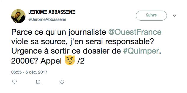 Tweet de Jérôme Abbassène à l'annonce du jugement le condamnant dans l'affaire de la permanence parlementaire de Jean-Jacques Urvoas à Quimper