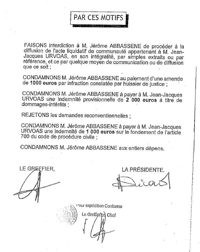 Jugement condamnant Jérôme Abbassène dans l'affaire de la permanence parlementaire de Jean-Jacques Urvoas à Quimper