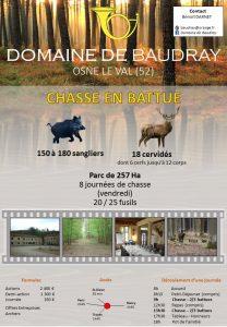 Annonce du domaine de Baudray parue sur le site Planetchasse.com