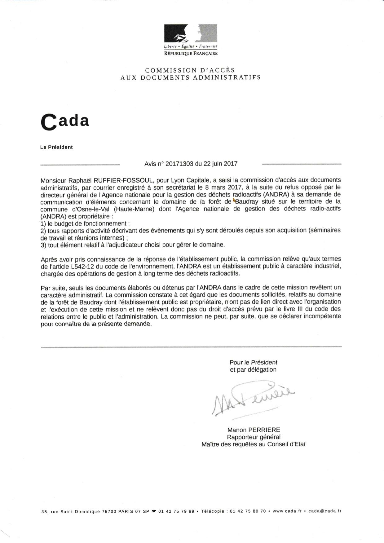 Réponse de la Cada à notre demande concernant le domaine de Baudray.
