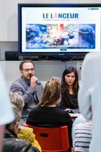 """Raphaël Ruffier-Fossoul, rédacteur en chef du """"Lanceur"""", à la BM de la Part-Dieu, le 2octobre 2018 © Tim Douet"""